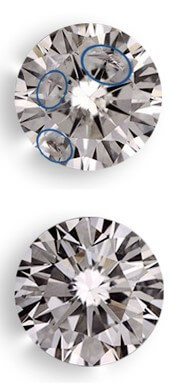Clarity enhanced diamonds before and after the enhancement